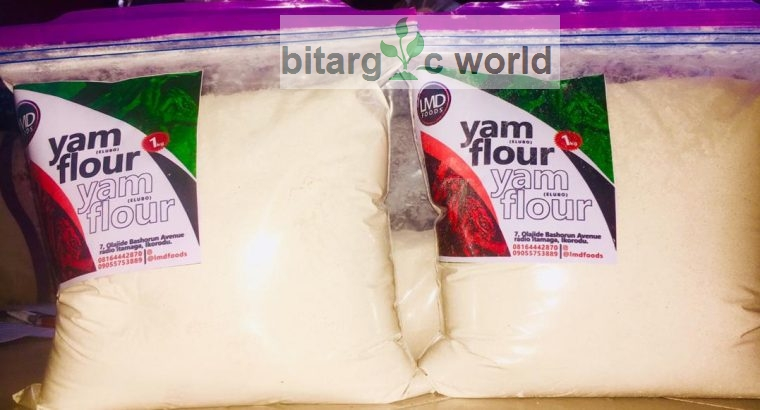 Yam flour,garri ijebu,fresh and roasted pork meat